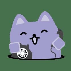 Broadcat mascot holding a phone