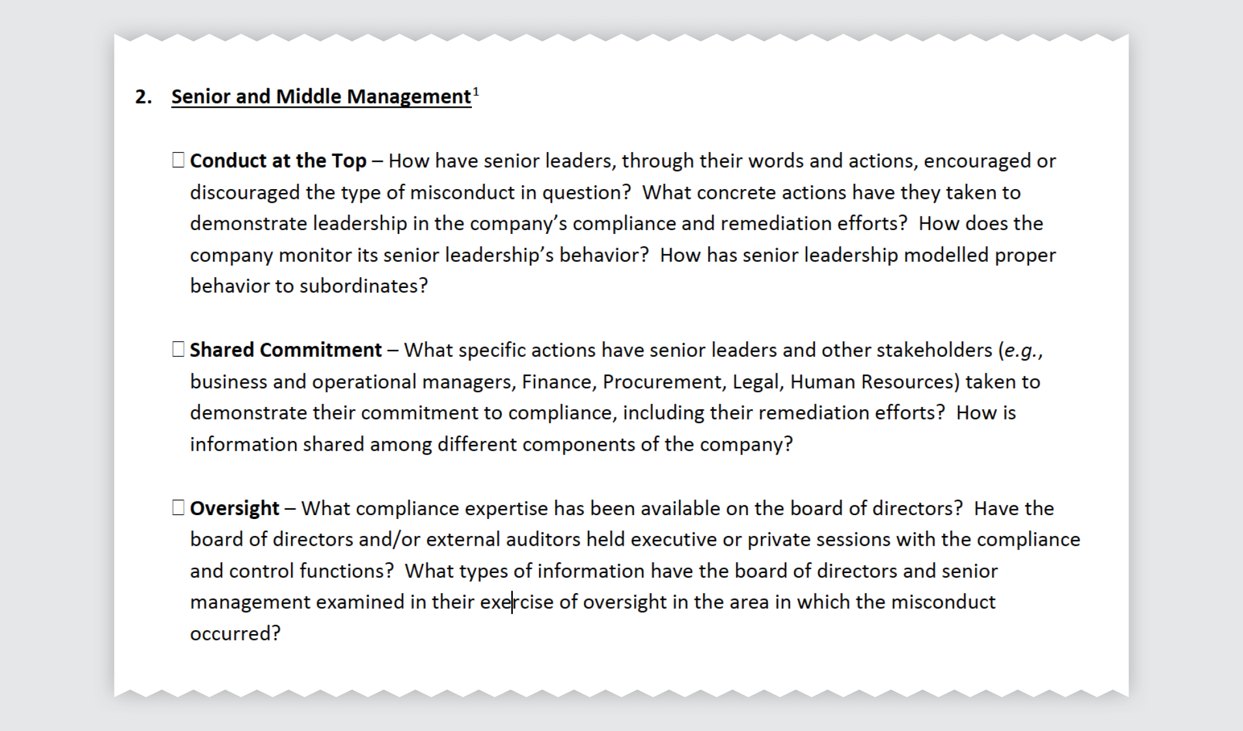 DOJ Evaluation of Corp Compliance - Senior and Middle Management Exemplar.