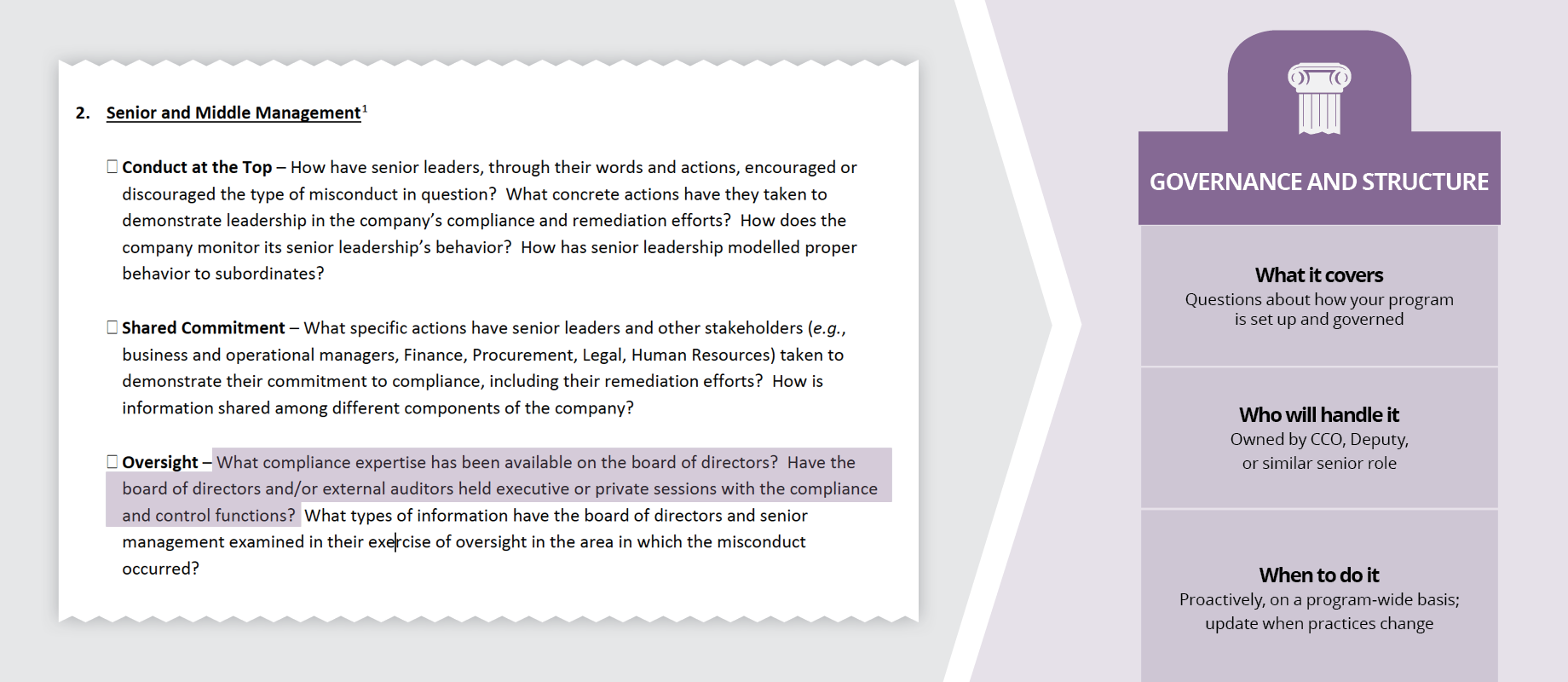 Department of Justice's Evaluation of Corporate Compliance Programs - Highlight of Governance and Structural theme in Senior and Middle Management topic