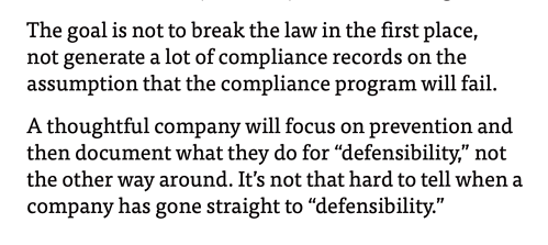 Excerpt from Hui Chen interview (thoughtful companies focus on prevention and document for defensibility)