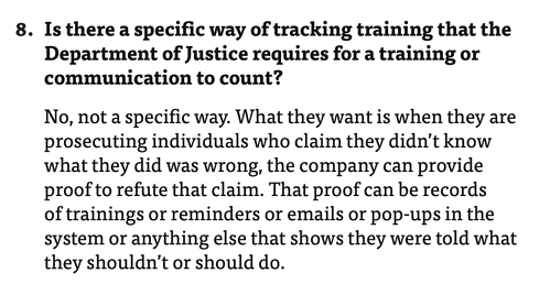"""""""Is there a specific way of tracking training that the Department of Justice requires for a training or communication to count?"""" Hui Chen answers, """"No, not a specific way."""""""