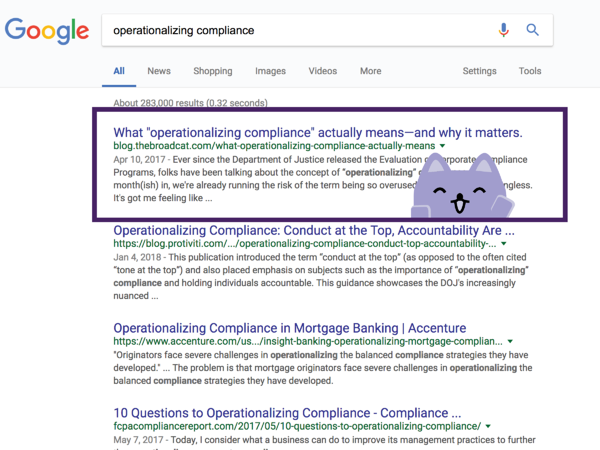 broadcat as the top google result for operationalizing compliance as of may 2 2018