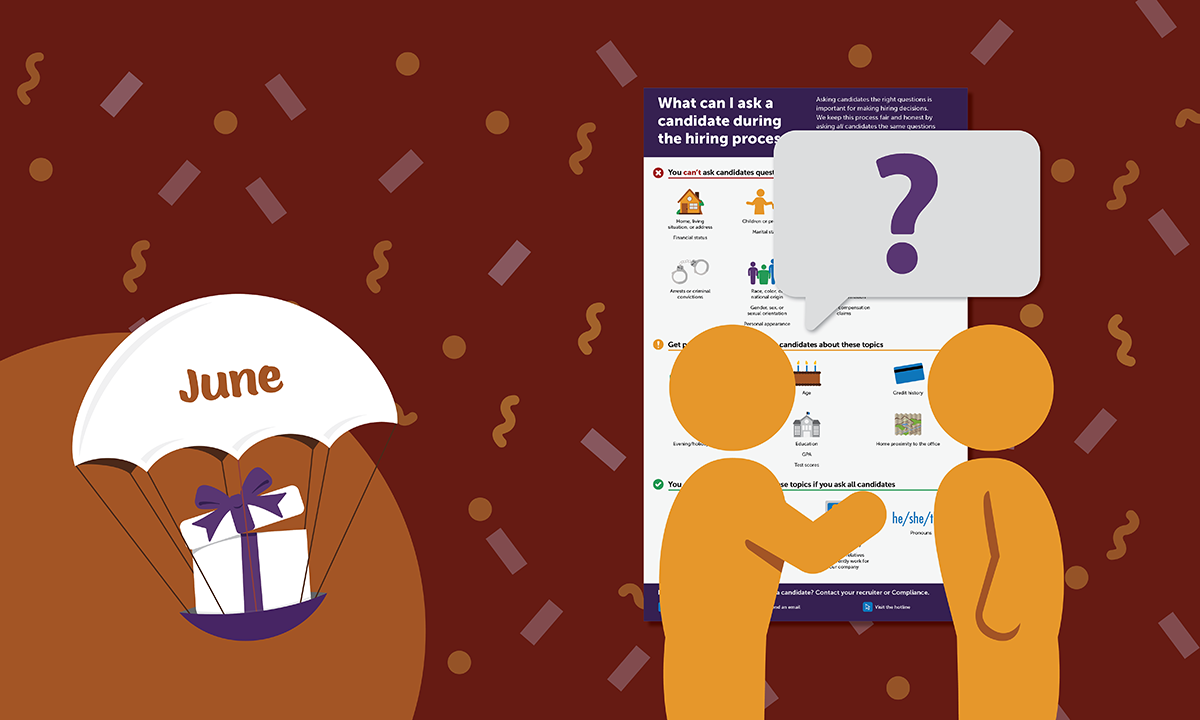 [Blog header] 'What can I ask a candidate during the hiring process?' Infographic [June 2021 Gift]