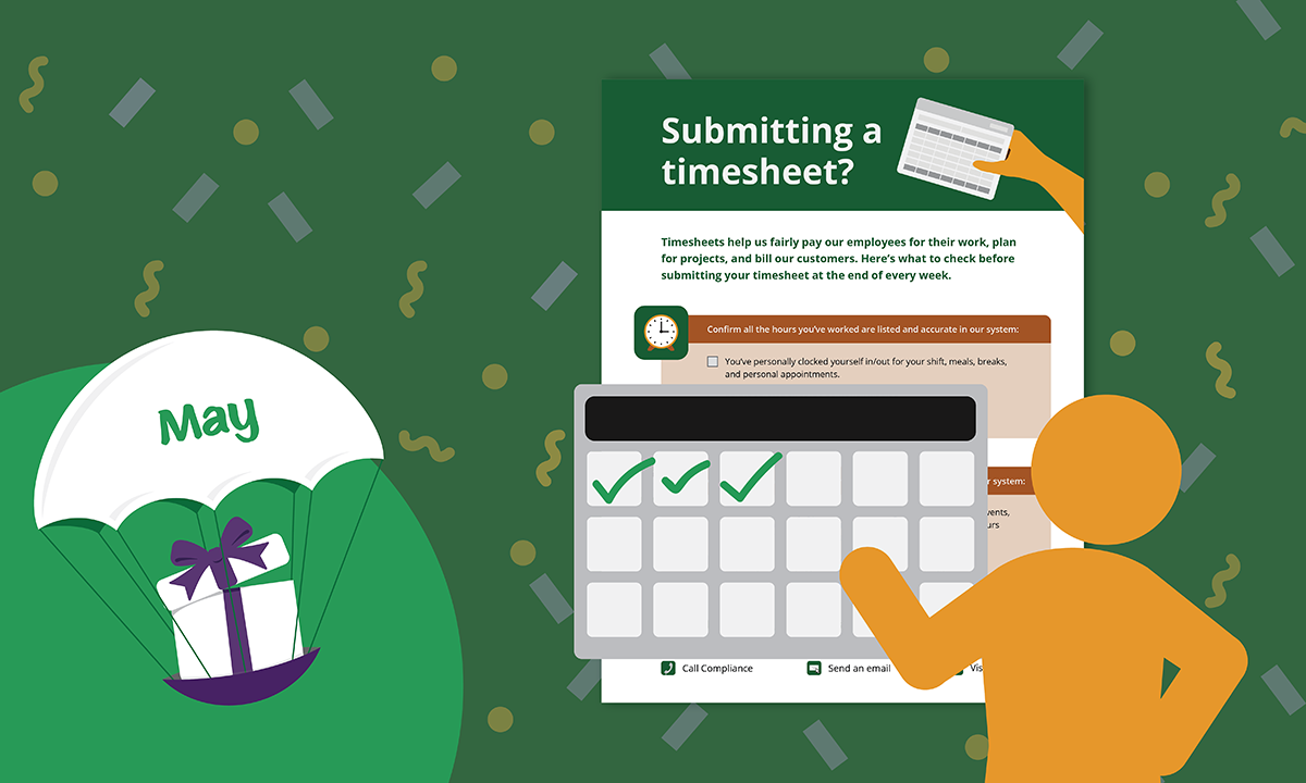 [Blog header] 'Submitting a timesheet?' Job Aid [May 2021 Gift]